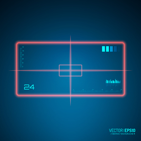 Sniper scope isolated. Neon target concept. Game Interface Element. Vector illustration Illustration