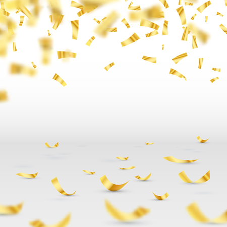 Golden confetti falls isolated. Vector illustration for your design