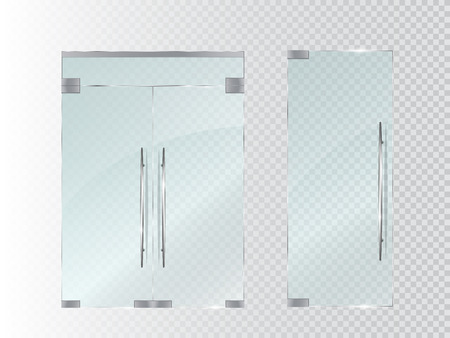 Glass doors isolated on transparent background. Vector