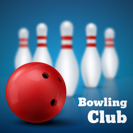 skittles: Bowling club poster with red ball and skittles. Vector