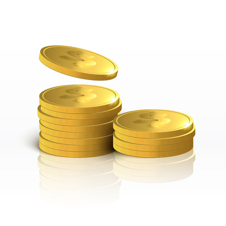 golden coins: Golden coins. Money isolated on white background.