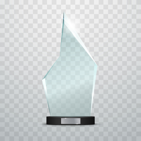 base: Glass Trophy Award. Vector illustration isolated on transparent background