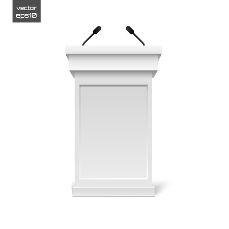 tribune: Vector White Podium Tribune Rostrum Stand with Microphones Isolated