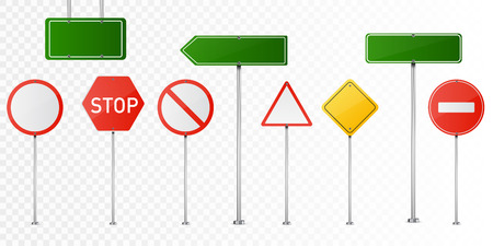 Set of road signs isolated on transparent background. Vector illustration.
