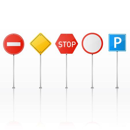 Set van verkeersborden op een witte achtergrond. Vector illustratie.