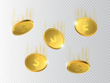 money background: Vector Illustration of golden coins. Money isolated on transparent background. Illustration