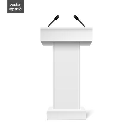 rostrum: Vector White Podium Tribune Rostrum Stand with Microphones Isolated on white Illustration