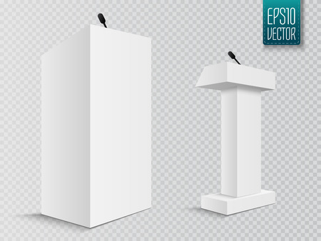 tribune: Vector White Podium Tribune Rostrum Stand with Microphones Isolated on white Illustration