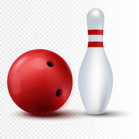 Red bowling ball and skittle Isolated on a transparent background. Vector illustration Illustration