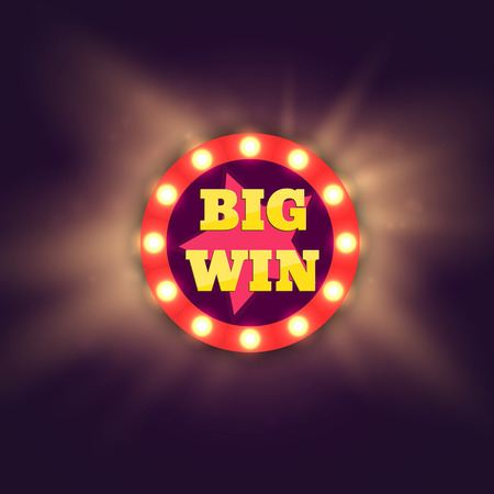 show: Big Win retro banner with glowing lamps. Vector illustration