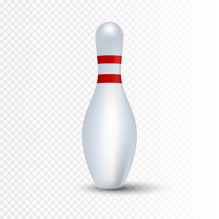 pin stripe: Single bowling pin with red stripes isolated on transparent background, vector illustration Illustration