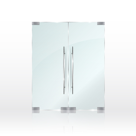 Glass doors isolated on transparent background. Vector illustration Banque d'images