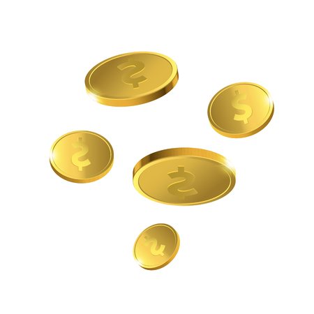 Vector Illustration of flying golden coins. Money isolated.