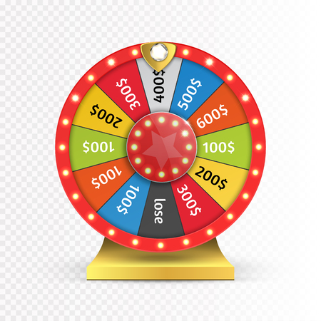 Colorful wheel of luck or fortune infographic. Vector Çizim