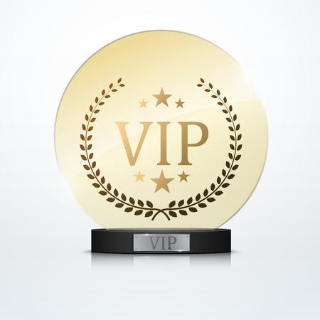 platinum: Vip invitation with black award trophy, vector Illustration