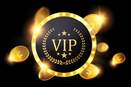 Vip invitation with golden badge, vector Illustration