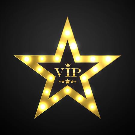privilege: Vip invitation with golden badge, vector Illustration
