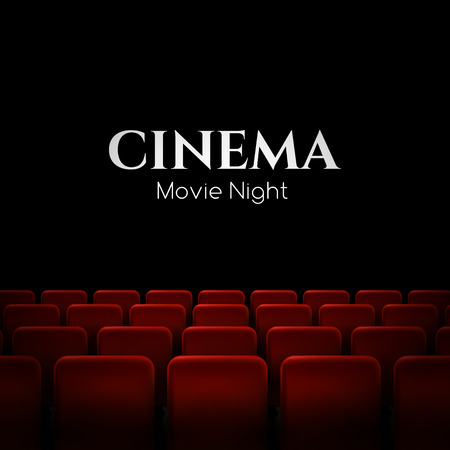 films: Movie cinema premiere poster design with red seats. Vector background.