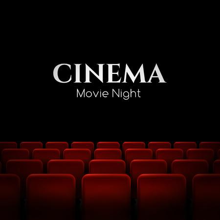 cinta pelicula: películas de cine diseño de la premier cartel con asientos de color rojo. Fondo del vector.