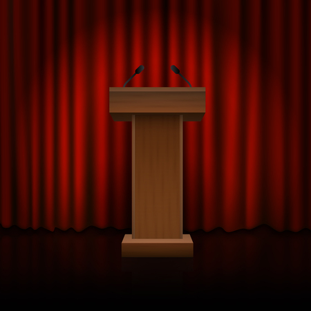 Wooden podium on the floor with red curtains. Vector
