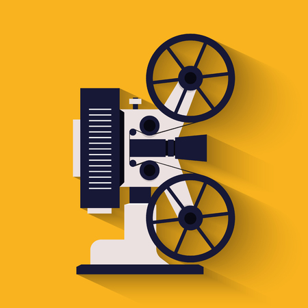Old style movie camera flat icon. Retro Cinema projector. Illustration