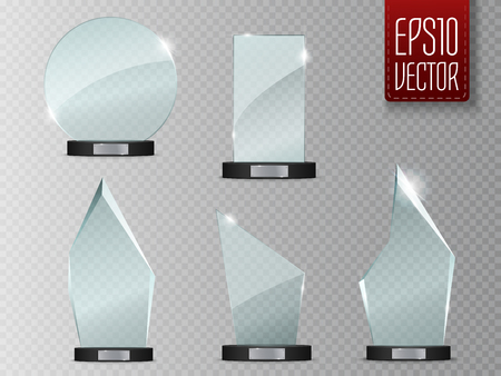 Glass Trophy Award. Vector illustration isolated on transparent background