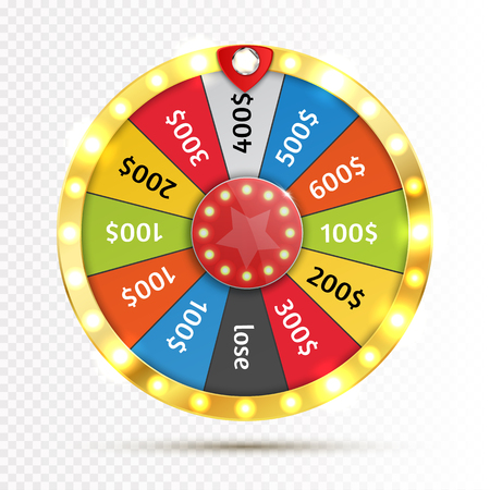 Colorful wheel of luck or fortune infographic. Vector Vettoriali
