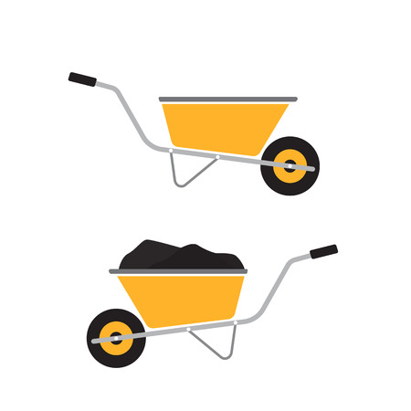 Wheelbarrow icon isolated on white. Flat illustration for web design