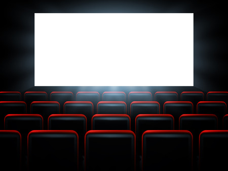 performance art: Movie cinema premiere poster design with white screen. Vector background. Illustration