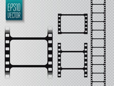 35 mm: Set of vector film strip isolated on transparent background. Illustration