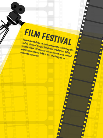 Cinema festival poster or flyer template for your design. Vector Vettoriali