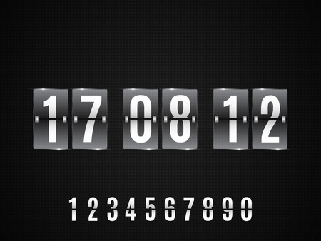 Transparent Glass Countdown timer isolated on black background. Illustration