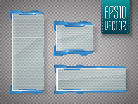 Glass banners isolated on transparent background. Vector template