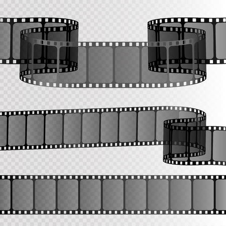 Film strip isolated on transparent background. Movie reel template. Vector Иллюстрация