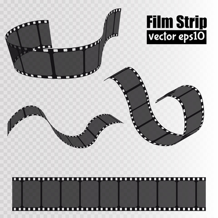cinta pelicula: Film strip isolated on transparent background. Movie reel template. Vector Vectores