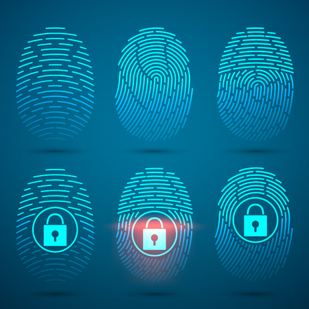 Fingerprint scanning. Vector illustration. Security system. Illustration