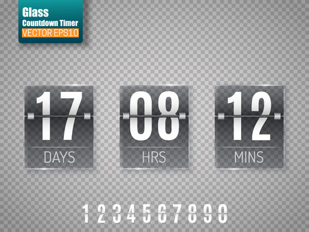 Dark Glass Countdown timer isolated on transparent background. Clock counter.