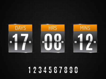 Transparent Glass Countdown timer isolated on black background. Vector template Illustration