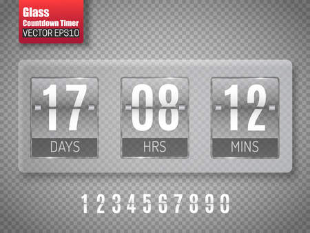 Glass Countdown timer isolated on transparent background. Clock counter. Vector
