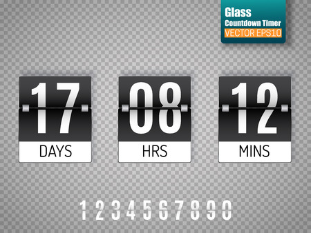 Black Countdown timer with white numbers isolated on transparent background.