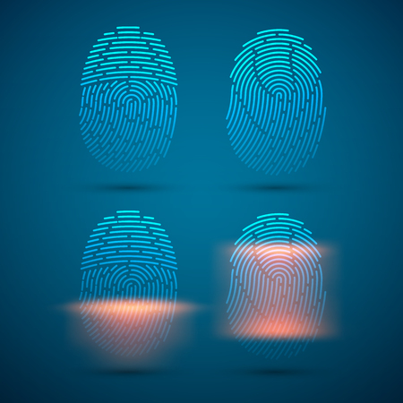 Fingerprint scanning. Vector illustration for a Security system.