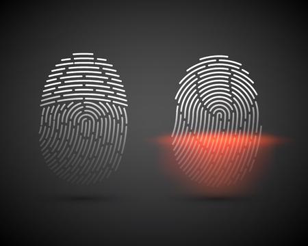 fingermark: Fingerprint scanning. Vector illustration for a Security system.