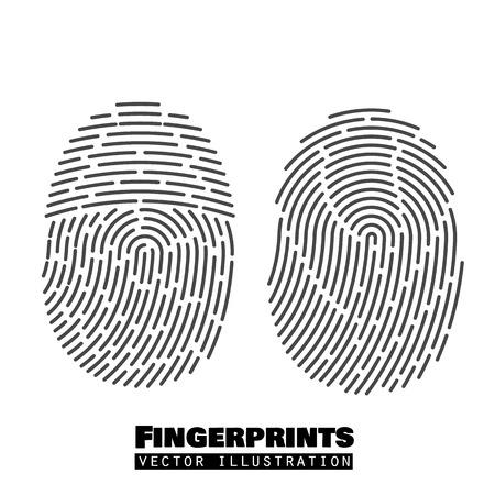 fingermark: Fingerprints set. Vector Security system. Digital lock