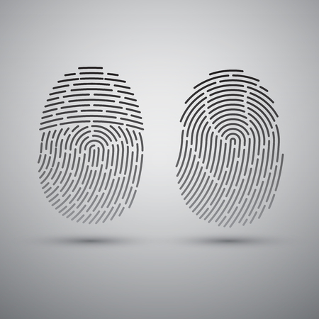 security lock: Fingerprints set. Vector Security system. Digital lock