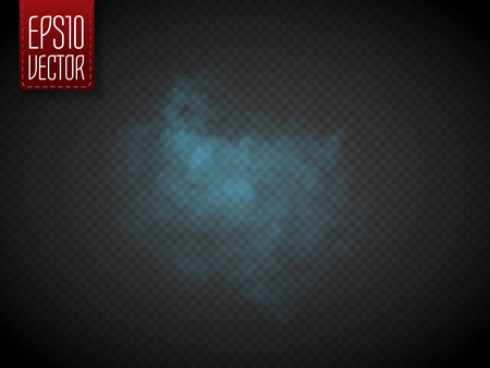 Blue fog or smoke isolated, transparent special effect. Vector illustration