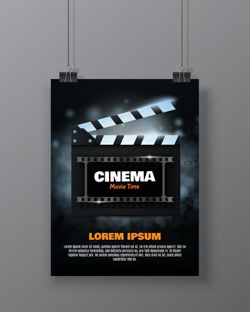 Filmfestival Flyer Of Poster. Vectorillustratie Van De Filmindustrie.