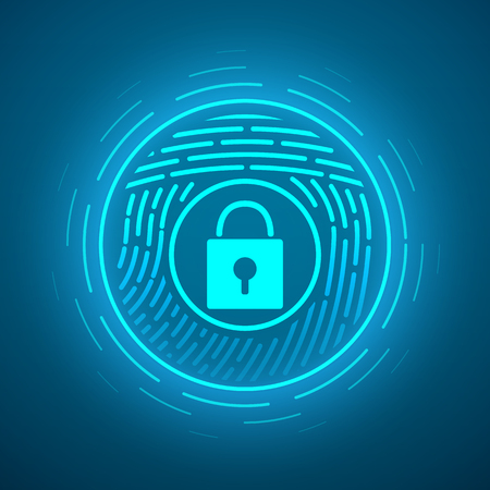 fingermark: Fingerprint scanning. Vector Security system. Digital lock