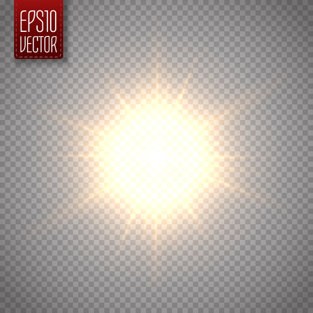 Lens flare vector illustration. Sun isolated on transparent background.