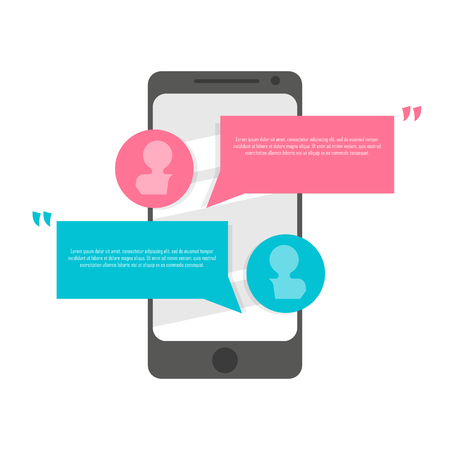 Phone chat message. Speech Bubble icons with smartphone. Communication concept Illustration