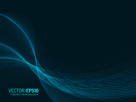 Abstract vector background, blue transparent waved lines for brochure, website.